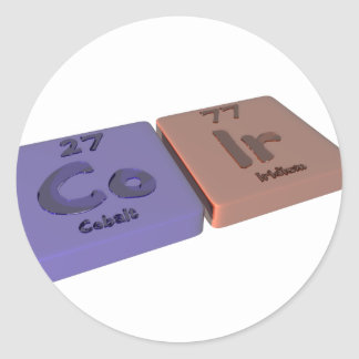 Coir as Co Cobalt  and Ir Iridium Round Sticker