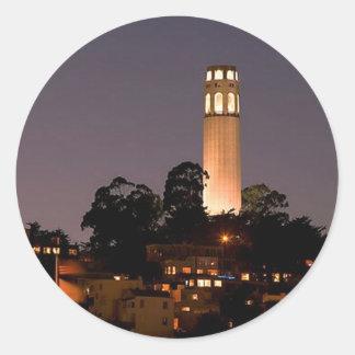Coit Tower at Night Round Sticker