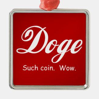 Cola Doge - Wow Silver-Colored Square Decoration