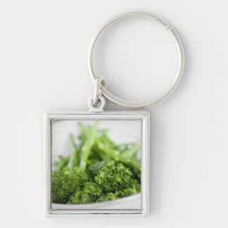 COLANDER FULL OF SUPERFOOD BROCCOLI Silver-Colored SQUARE KEY RING