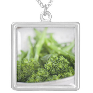 COLANDER FULL OF SUPERFOOD BROCCOLI SILVER PLATED NECKLACE