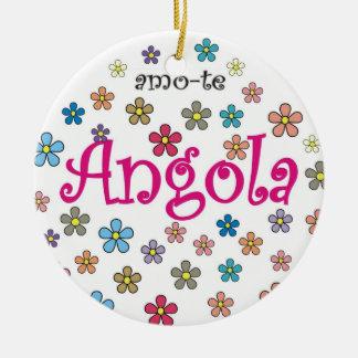 Colar circular - amo-te Angola - Flores Round Ceramic Decoration