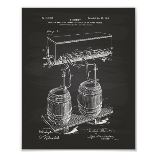 Cold Air Pressure Beer 1900 Patent Art Chalkboard