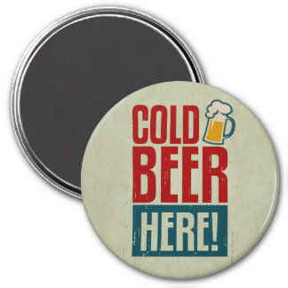 Cold Beer 7.5 Cm Round Magnet