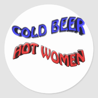 cold beer hot woman round sticker