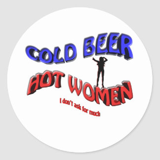 cold beer hot woman , with  lady silhouette round sticker