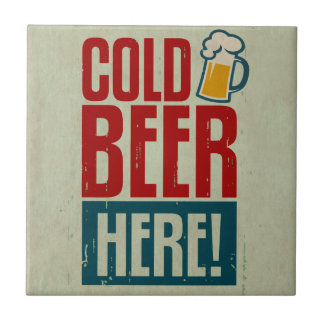 Cold Beer Small Square Tile