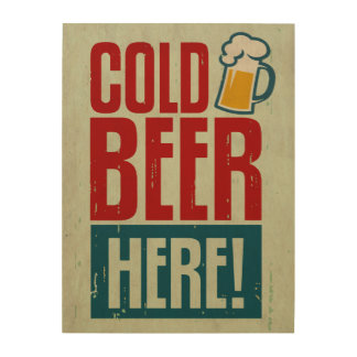 Cold Beer Wood Canvas