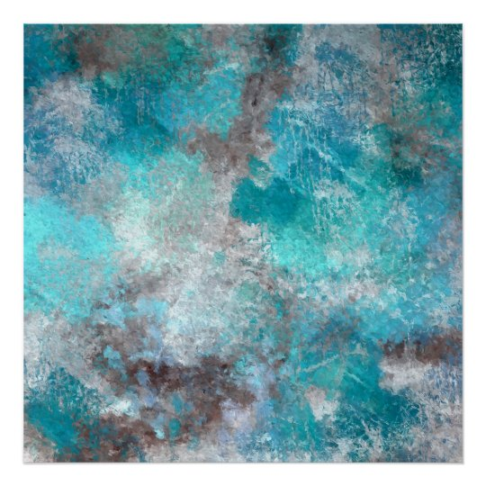 Cold Day Abstract Blue White Teal Poster
