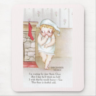 Cold Kid Waiting for Santa Claus Vintage Christmas Mouse Pad