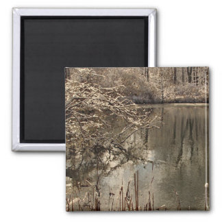 Cold Pond with Snow Refrigerator Magnets