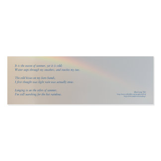 'Cold Summer' poetry bookmark Pack Of Skinny Business Cards
