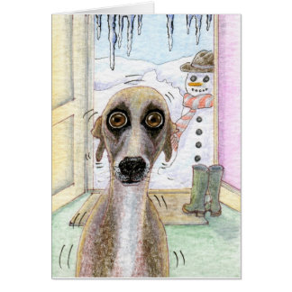 Cold Whippet Christmas card