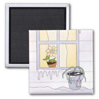 Cold Winter Freeze Square Magnet