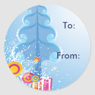 Cold Winter Gift Tag Round Stickers
