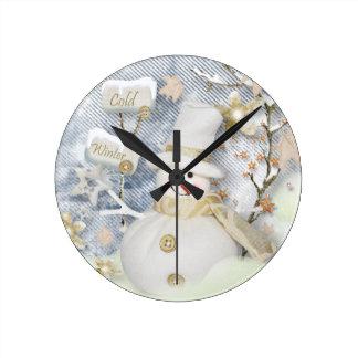 Cold Winter Round Clock