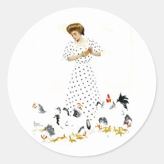 Coles Phillips Fadeaway Farmer s Daughter Round Sticker