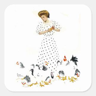Coles Phillips Fadeaway Farmer s Daughter Square Sticker