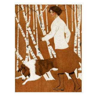 Coles Phillips  Fadeaway Woman Jogging with Collie Post Card
