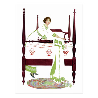 Coles Phillips Woman and Four Poster and Quilts Postcard