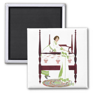 Coles Phillips Woman and Four Poster and Quilts Square Magnet