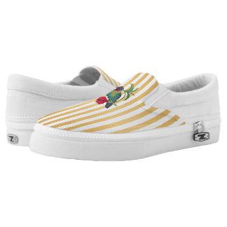 Colibri Bird Gold Stripes Slip On Shoes