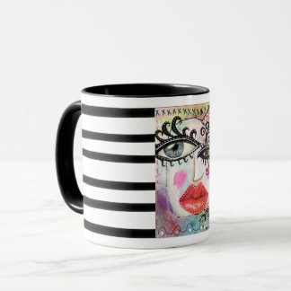 Collage Art Colourful Bold Lip Quirky Eyes Mug