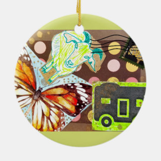Collage Eclectic Brown Goat Butterfly RV Stamp Round Ceramic Decoration