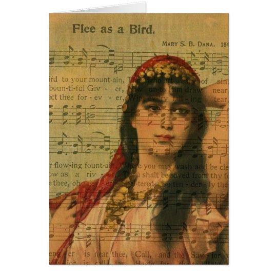 Collage Flee as a Bird Music Card