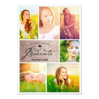 """Collage Grid Grad Glitter Graduation Party Invite 5"""" X 7"""" Invitation Card"""