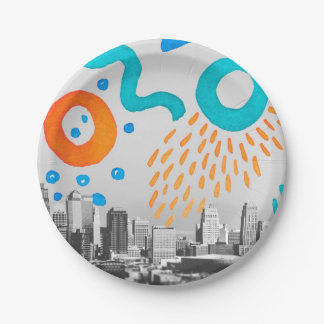 """Collage Hand Painted NYC Photo Paper Plates 7"""""""