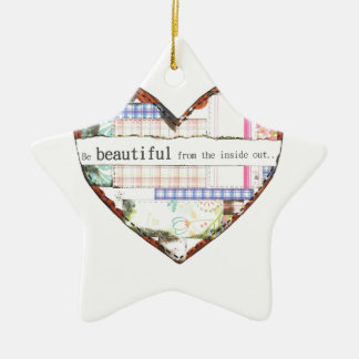 Collage Heart design, customise it Ceramic Star Decoration