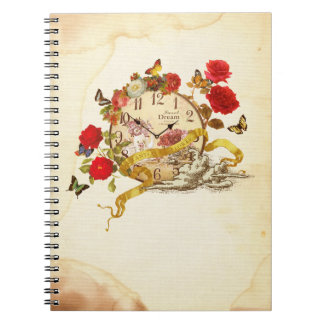 Collage note of clock and flower note book