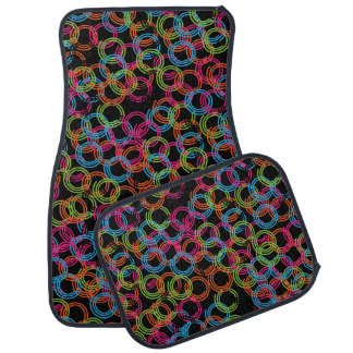 Collage of Bright Colored Circle Swirls Floor Mat