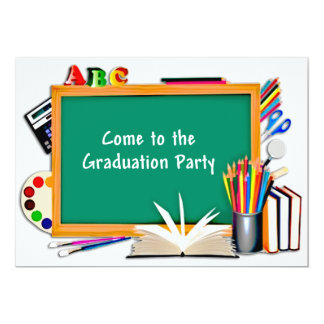 Collage of Chalkboard & School Supplies Graduation 13 Cm X 18 Cm Invitation Card