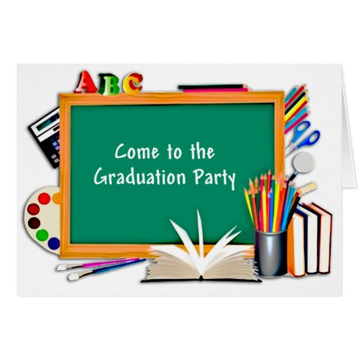 Collage of Chalkboard & School Supplies Graduation Greeting Cards