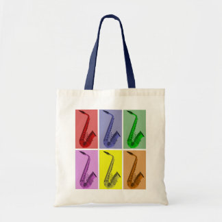 Collage of Colorful Saxophones Pattern Tote Tote Bags