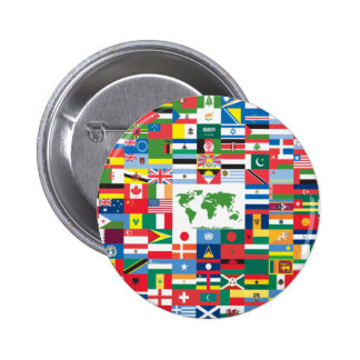 Collage of Country Flags from All Over The World Pinback Buttons