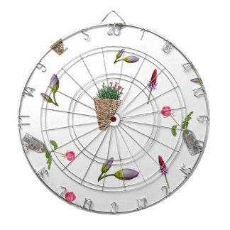 collage of flower on white background dartboard