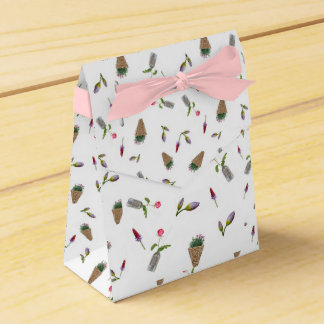 collage of flower on white background favour box
