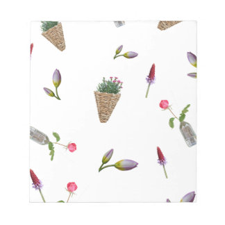 collage of flower on white background notepad
