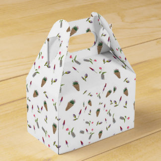 collage of flower on white background party favour box