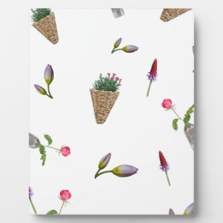 collage of flower on white background plaque