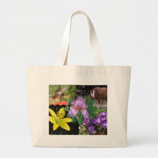 Collage of Flowers, Horses, and Hummingbird Large Tote Bag