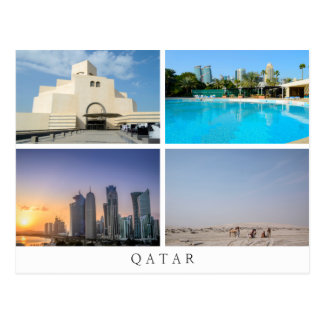 Collage of four landscapes in Qatar postcard