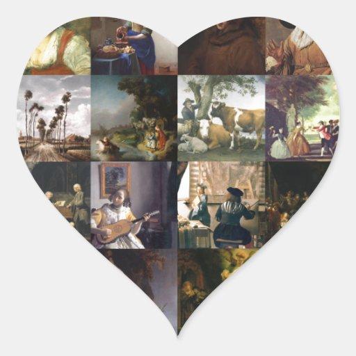 Collage of paintings of van Gogh, Vermeer, etc Sticker