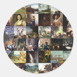 Collage of paintings of van Gogh, Vermeer, etc Stickers
