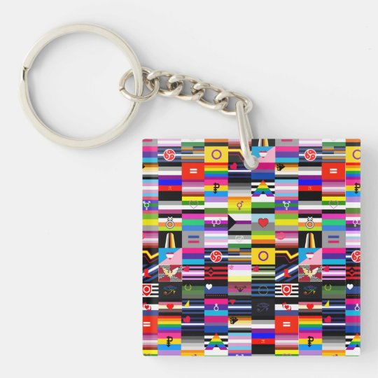 Collage of Pride Flags Key Ring