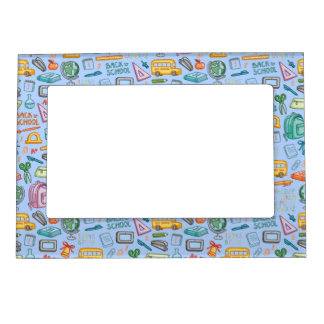 Collage of School Supplies on Blue Magnetic Frame