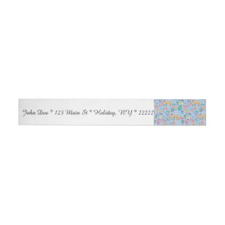 Collage of School Supplies on Blue Wraparound Address Label